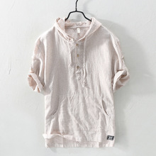Pullover Striped Cotton Linen Hooded Shirts For Men Short Sleeve Casual Flax Hoodies Shirt Men Fashion Streetwear Camisas