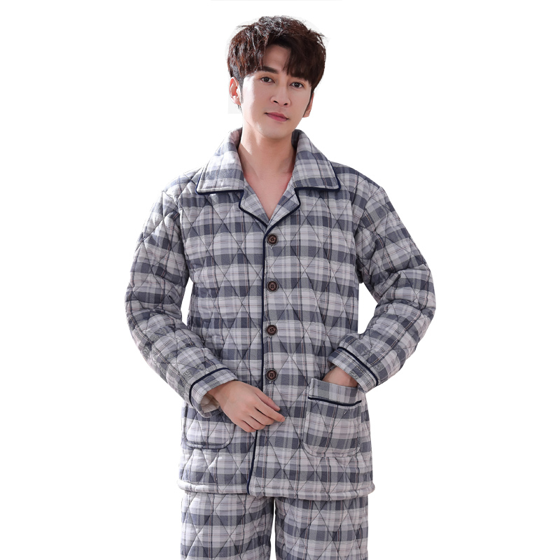 Men Plaid Pajama Set Pyjamas Suits Winter 3 Layer Quilted Thick Cotton Padded Warm Sleepwear Night Suit Men Nightwear Loungewear