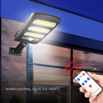 COB wodoodporna lampa solarna ścienna czujnik ruchu ludzkiego pilot lampa bezpieczeństwa dekoracja zewnętrzna chodnik krajobraz tanie i dobre opinie alloet CN (pochodzenie) NONE Street Lights IP65 Szczotkowana ze stali nierdzewnej W nagłych wypadkach Żarówki LED Nowoczesne