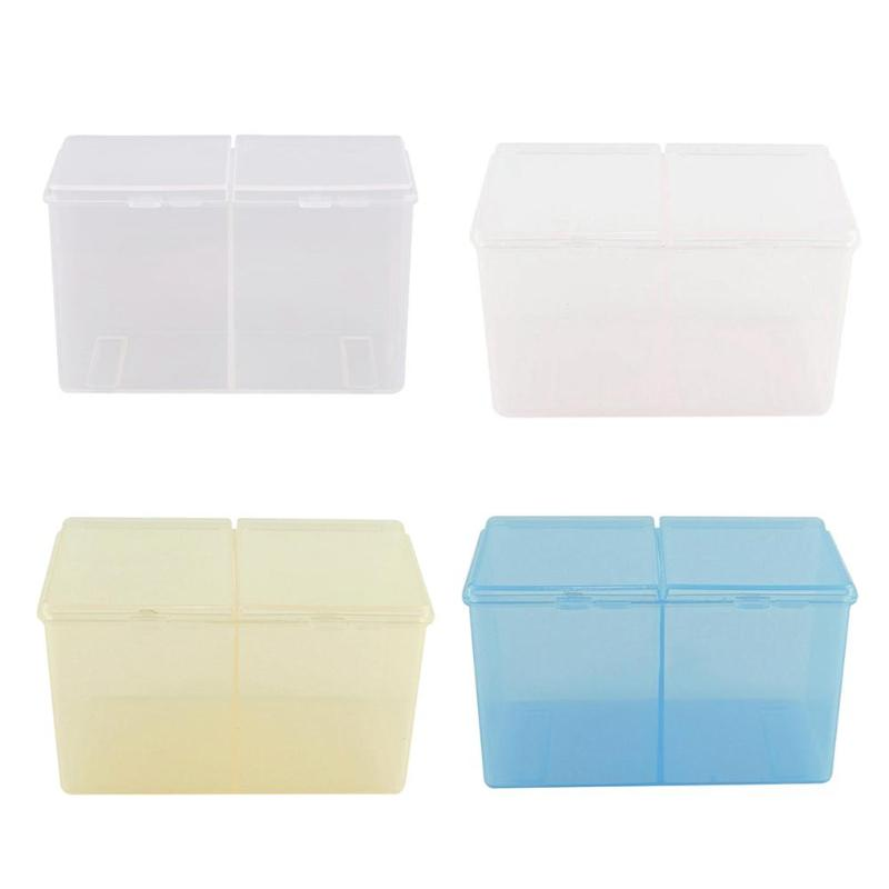 Cotton Swabs Storage Holder Box Cleaning Cotton Storage Box Swab Pad Nail Art Compartments Container Holder Desktop Organizer