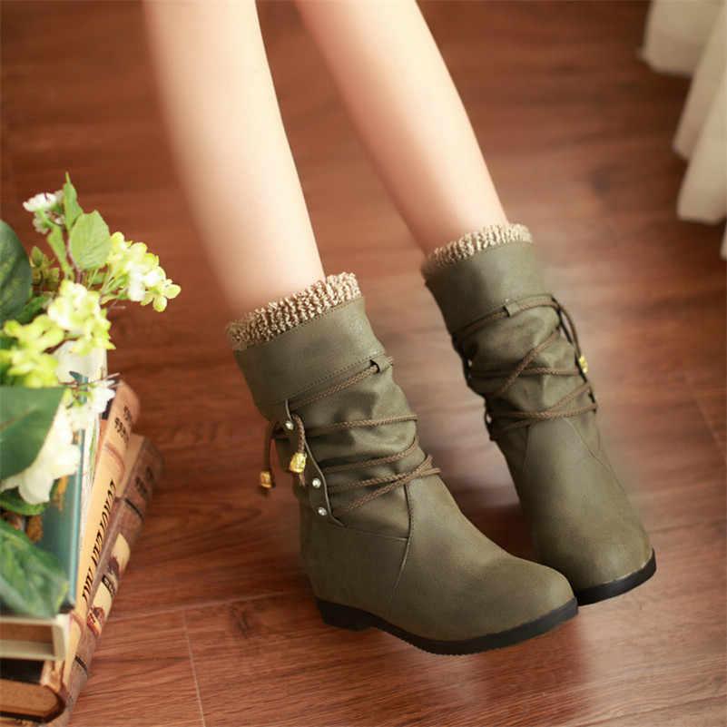 Meotina sonbahar orta buzağı çizmeler kadın çizmeler kristal üzerinde kayma düz çizmeler pilili yuvarlak ayak ayakkabı bayanlar kış yeşil artı boyutu 33-43