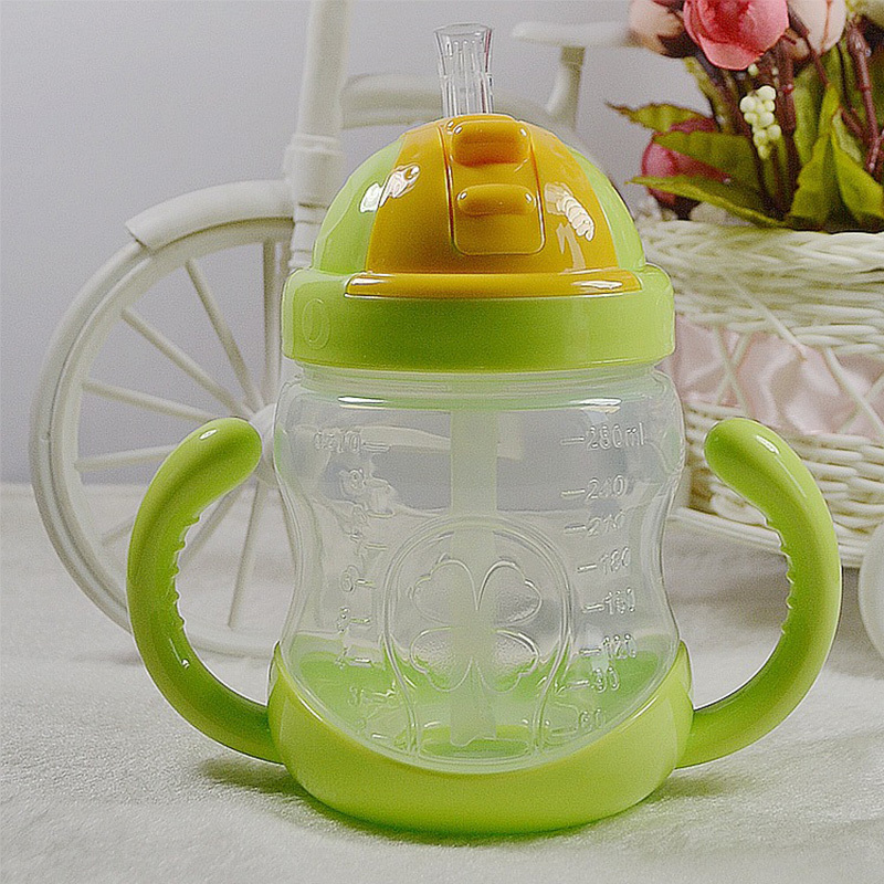 5 Color 280ml Baby Bottle Kids Cup Silicone Sippy Children Training Cups Cute Baby Drinking Water Straw Handle Feeding Bottle in Water Bottles from Home Garden