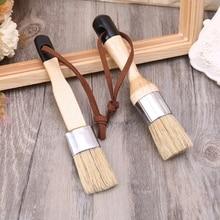 6 Pcs Round Chalk Paint Wax Brush Ergonomic Wood Handle Natural Bristle Brushes Furniture DIY Painting Waxing Tool 449C