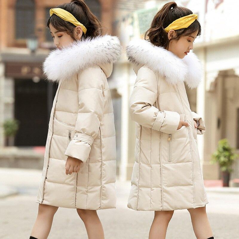 Новая зимняя детская куртка пуховик для детей от 6 до 14 лет теплое вельветовое пальто с большим шерстяным воротником и белой уткой для девочек, однотонное детское зимнее пальто