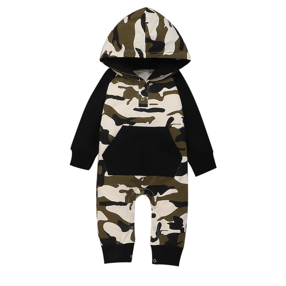 Kid Baby Boy Warm Camo Romper Jumpsuit Bodysuit Hooded Clothes Sweater Outfit