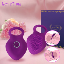 LoveTime Delay Vibrating Cock Ring with Massager Brush Silicone Sex Toys Quiet USB Charged Penis Rings Vibrator 10 Speeds