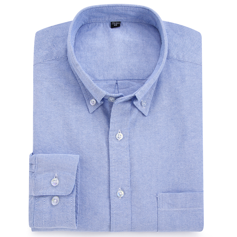Men's Casual Solid/striped Oxford Cotton Shirts Single Patch Pocket Long Sleeve Standard-fit Button-down Collar Thick Tops Shirt