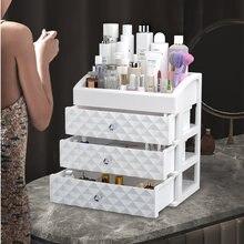 Cosméticos organizador de maquiagem gaveta de plástico caixa de beleza prego desktop armazenamento jóias se escova polonês batom container