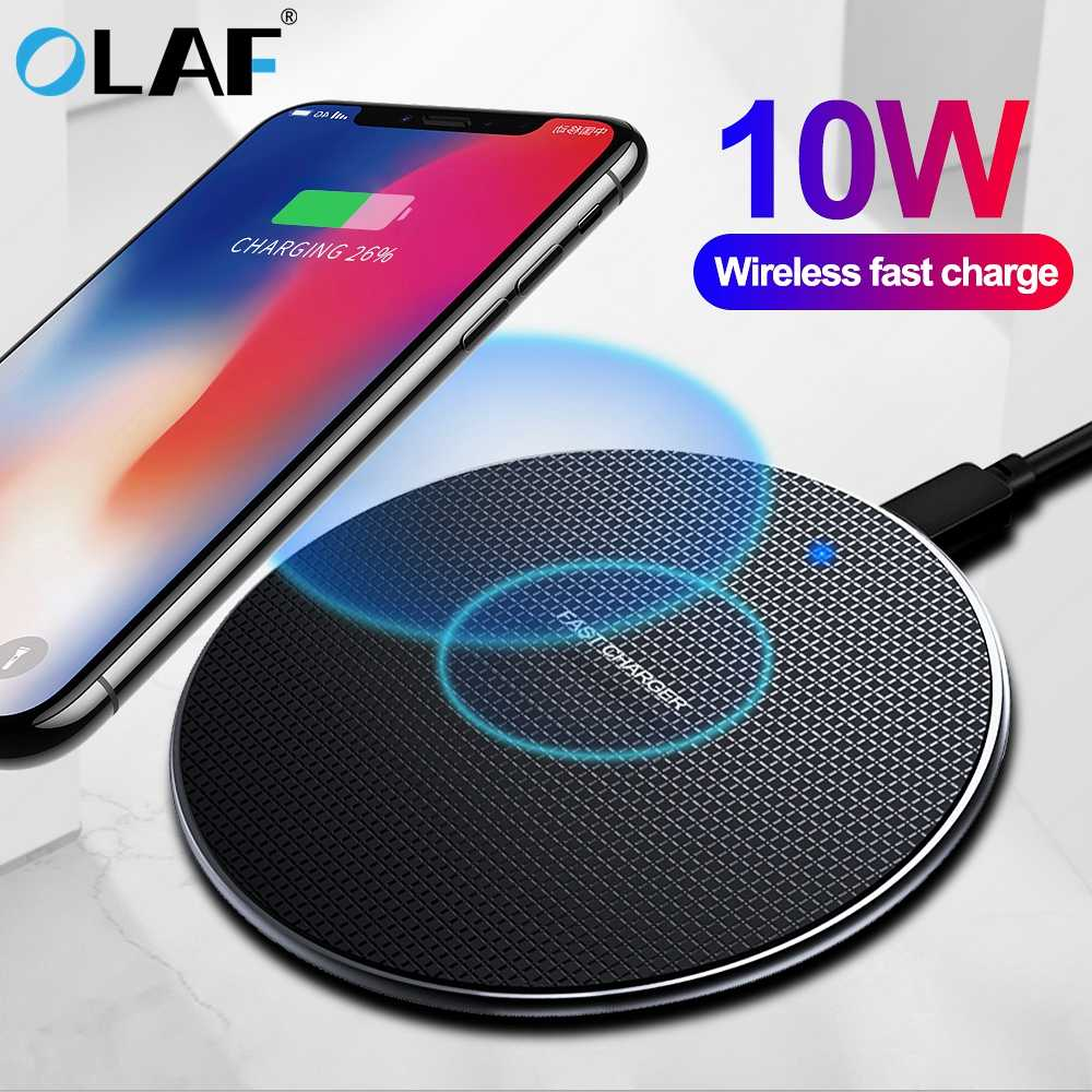 Olaf 10W Snelle Draadloze Oplader Voor Samsung Galaxy S10 S9/S9 + S8 Note 10 USB Qi Opladen pad voor iPhone 11 Pro XS Max XR X 8 Plus