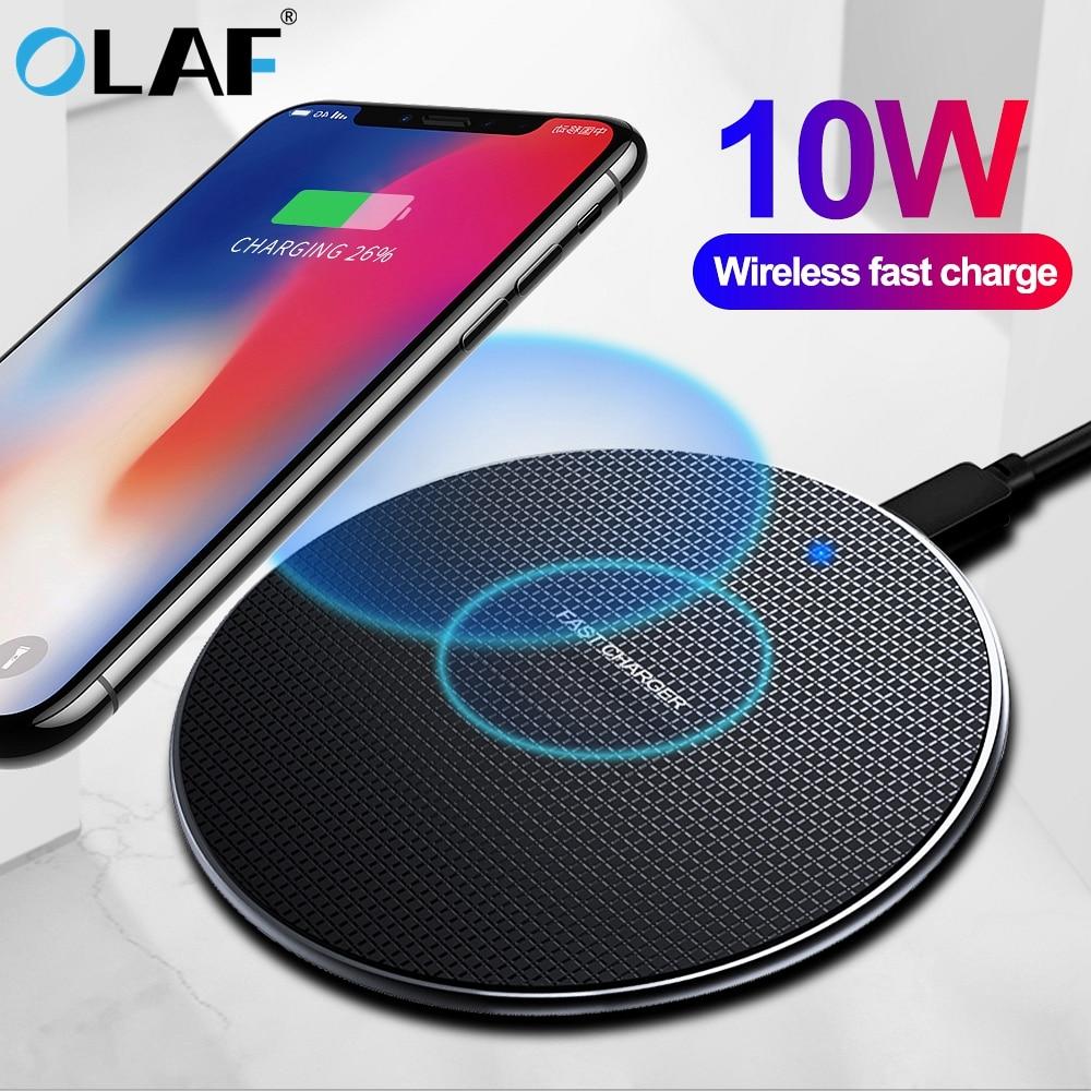 US $4.59 15% OFF|Olaf 10W szybka ładowarka bezprzewodowa dla Samsung Galaxy S10 S9S9 + S8 uwaga 10 USB podstawka ładująca qi dla iPhone 11 Pro XS Max