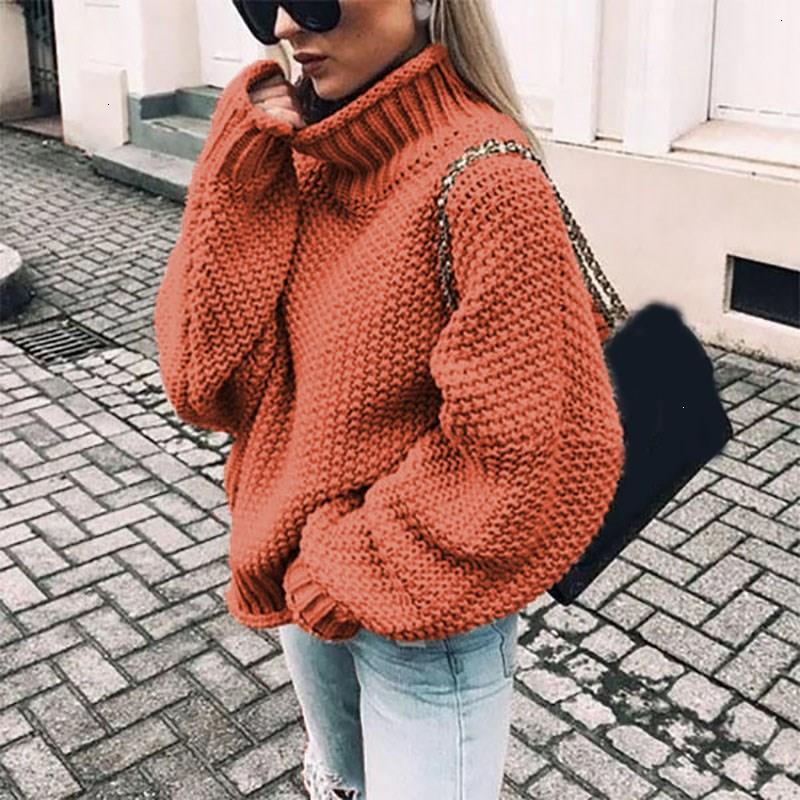 2019 Retrieve Winter Women Used Trui Fashion Long Mouwen Coltrui Casual Loose Solid Warm Trui Jumper