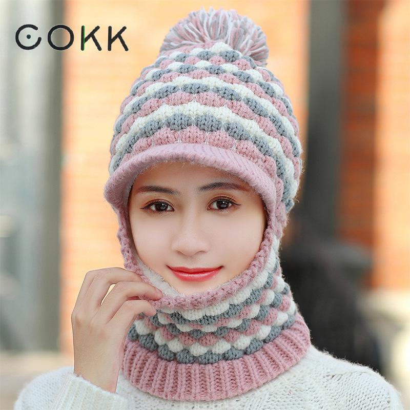 COKK Winter Hats For Women Beanie Bonnet Ear Protect Hat Female Stretch Hat Windproof Collar Thick Velvet Knit Cap With Pompom