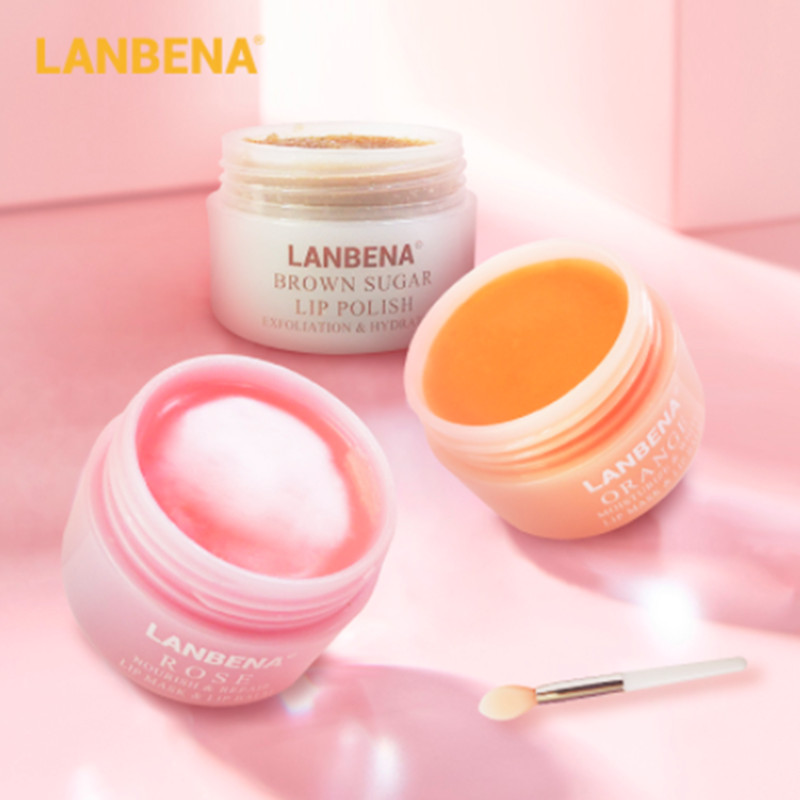 LANBENA Lip Plumper Mask Moisturizing Rose Pink Orange Oil Lighten Lines Brown Sugar Scrub Nourish Night Sleep Maintenance Care