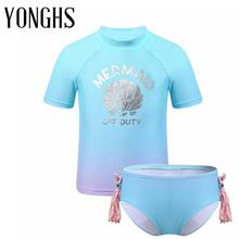 Kids Girls Tankini Swimsuit Short Sleeves Silver Shell Printed Two Pieces Swimwear Swimming Bathing Suit Set Tops with Bottoms child swimming girls swimsuit children long sleeve two pieces swimwear cute heart printed smile face bathing suits bikinis set