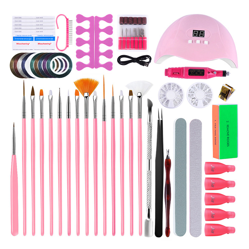 Super Manicure Set For Nail Kit With 54W LED Nail Lamp 20000RPM Nail Drill Machine Nail Stickers Kit  Nail Art Tools Set