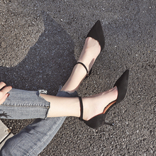 Shoes Woman Heels 2020 Faux Suede Thin High Heels Pointed Toe Ankle Strap Cover Heels Office Ladies Work Career Pumps Sandals 40 cheap Zohreh Basic Thin Heels Flock High (5cm-8cm) Fits true to size take your normal size Fashion Buckle Latex Casual Microfiber