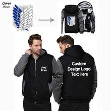 """ארה""""ב גודל מותאם אישית Mens נים DIY הדפסת לוגו עיצוב הסווטשרט חורף צמר לעבות מעיל מעיל חולצות זרוק"""