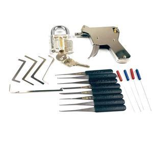 New Locksmith Tools,Lock Gun with Transparent Practice Locks Broken Key Extractor Pick Tool ,Great Lock Pick Practice Set