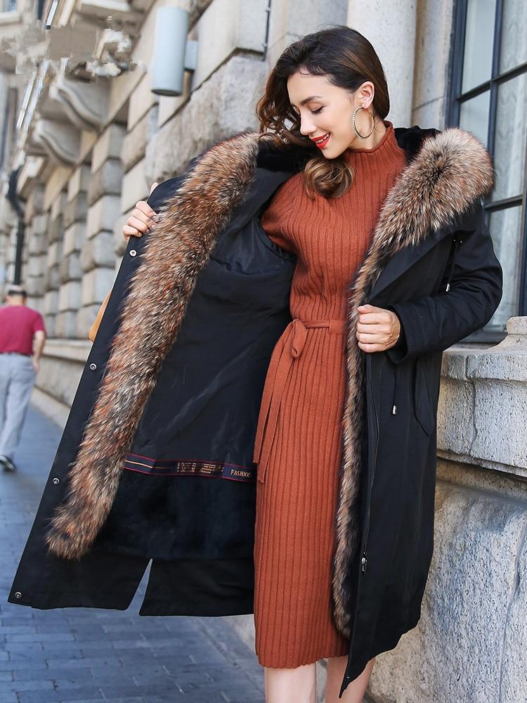 Fur Real Coat Female Natural Rabbit Fur Liner Parka Winter Jacket Women Raccoon Fur Collar Korean Long Jackets MY3987 S