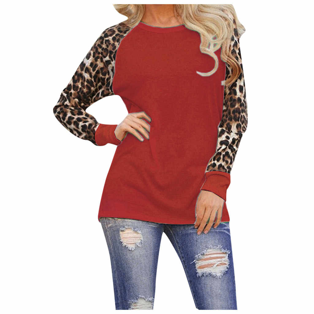 2019 Tshirt kobiety Leopard z długim rękawem moda damska koszulka Oversize topy Haut Femme Camiseta Mujer Top kobiety Harajuku T koszula