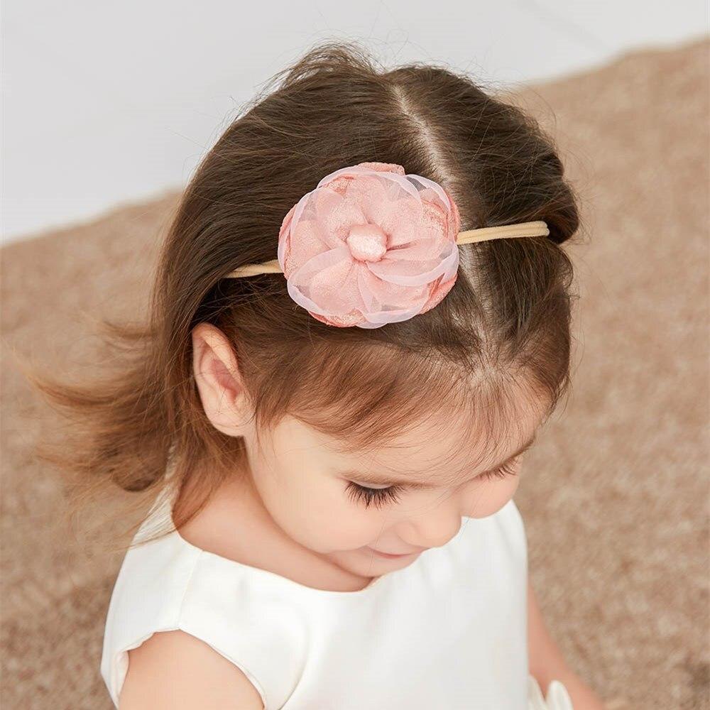 60 шт./лот, милая нейлоновая повязка на голову с кружевными цветами для новорожденных, Детские атласные повязки на голову с цветами, нейлоновая эластичная повязка на голову, аксессуары для волос для девочек 5