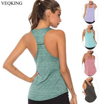 VEQKING Chaleco de Yoga sin mangas Racerback, Camiseta deportiva para mujer, camisetas sin mangas deportivas de Fitness, camisetas de entrenamiento correr en gimnasio Yoga