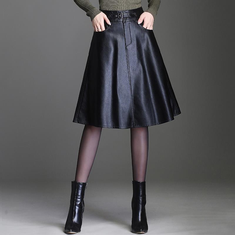 2019 Autumn And Winter OL Korean Solid Color PU Leather Skirt A Word Midi Skirts Womens Faldas Pleated Skirt Jupe Femme