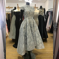 2020 Elegant High Low Lace Evening Dress High Neck Cap Sleeve Appliques Beaded Formal Evening Gowns Robe De Soiree