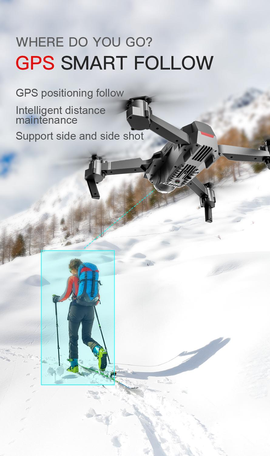 Profession GPS Drone with 4K HD Dual Camera Wide Angle Anti-shake Double GPS WIFI FPV RC Quadcopter Foldable Follow Me-2