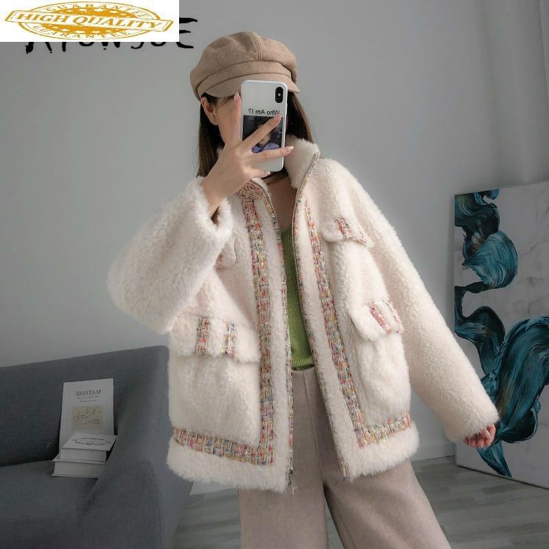 Real Fur Coat Women Winter Coat Women Clothes 2020 New Sheep Shearing 100% Wool Jacket Parka Real Fur Jacket B9R1607 YY2359