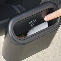 Cubo de basura de coche, papelera colgante para vehículo, caja de almacenamiento negra de Abs, tipo de prensado cuadrado, accesorios de Interior de coche