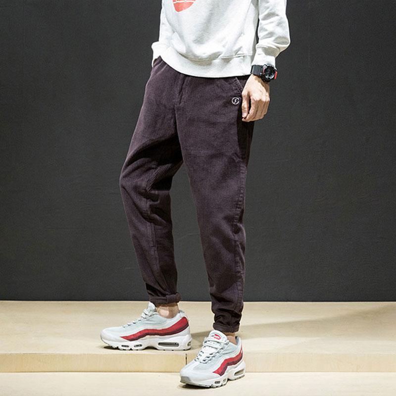 Newly Vintage Fashion Men Casual Pants Loose Fit Corduroy Harem Trousers Size 28-42 Wine Red Designer Hip Hop Pencil Pants Men