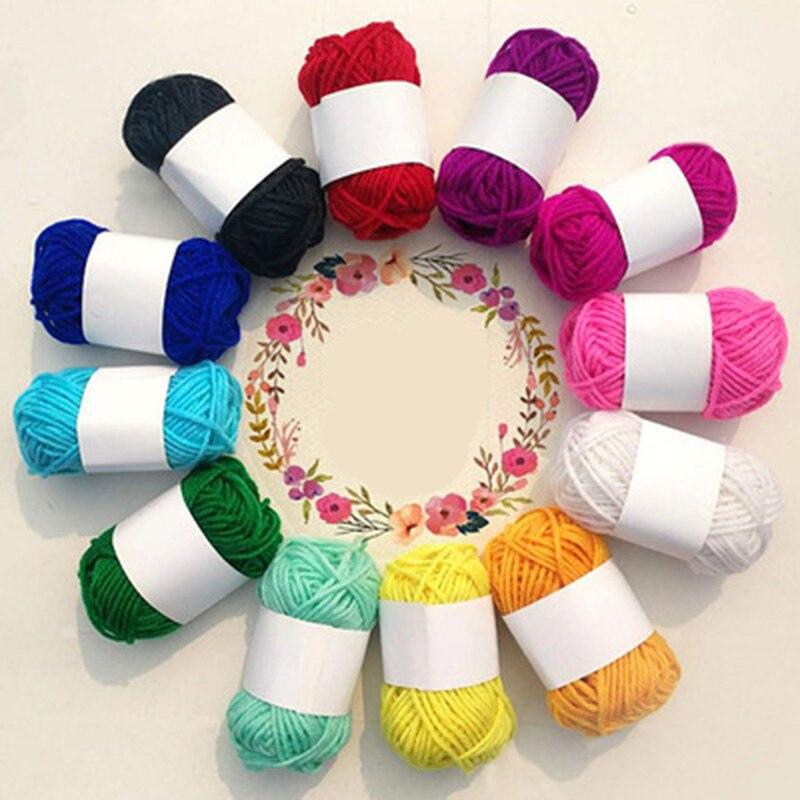 12 шаров/набор, Высококачественная теплая пряжа из молочного хлопка для малышей, шерстяная пряжа для вязания, трикотажная пряжа, вязаное оде...