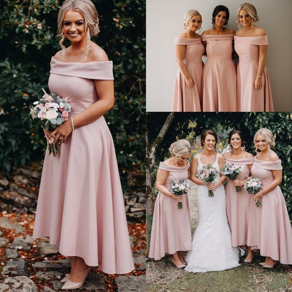 Blush Pink High Low Bridesmaid Dresses 2020 Off shoulder Elegant Ankle Length Beach Bohemian Maid of Honor Wedding Guest Gown