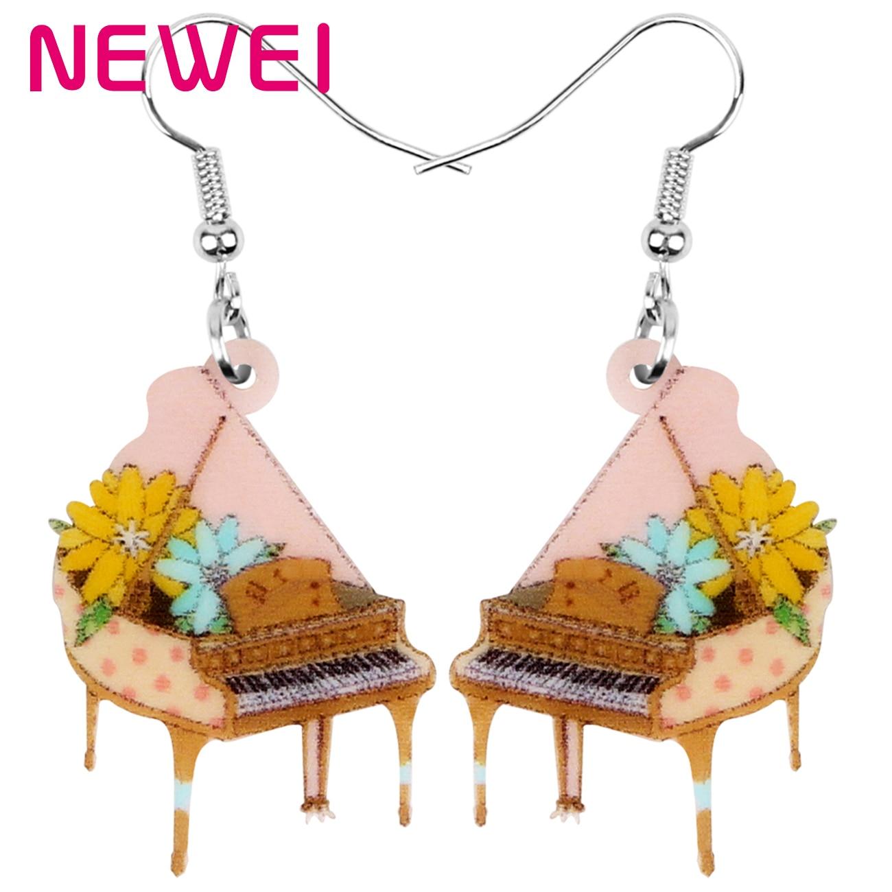NEWEI acrylique Anime Floral Piano boucles doreilles goutte Dangle Instrument ornement bijoux pour femmes fille adolescent enfant breloque décorations cadeau