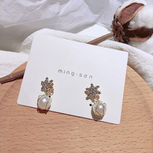 star Snowflake Pearl Design Earrings Small  earrings for women christmas jewelry gothic korean