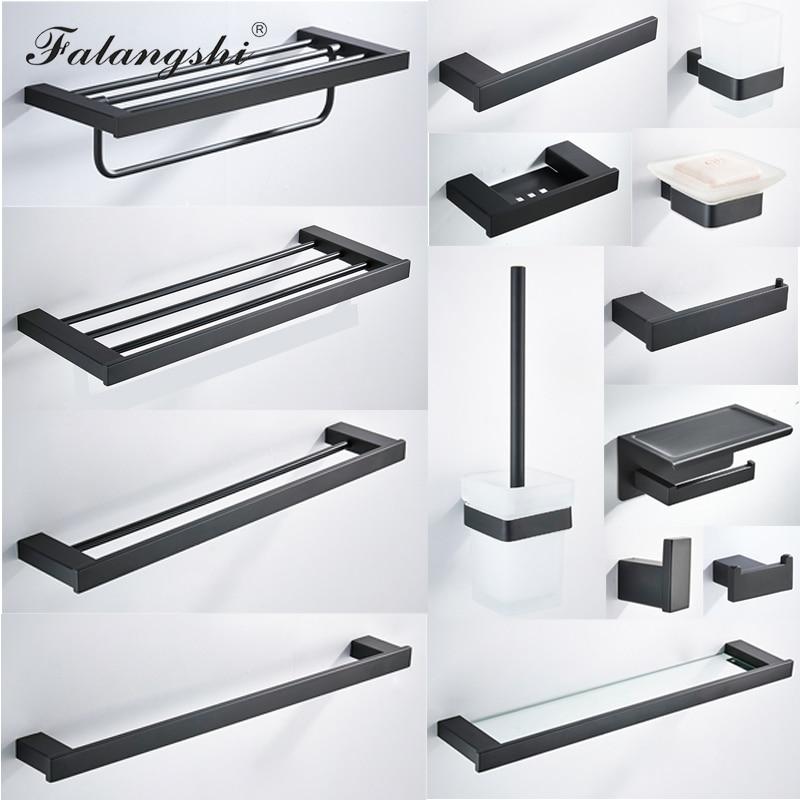 Falangshi 304 Stainless Steel Bathroom Hardware Set High Quality Towel Rack Paper Holder Bathroom Shelf Hooks Black Color WB8838