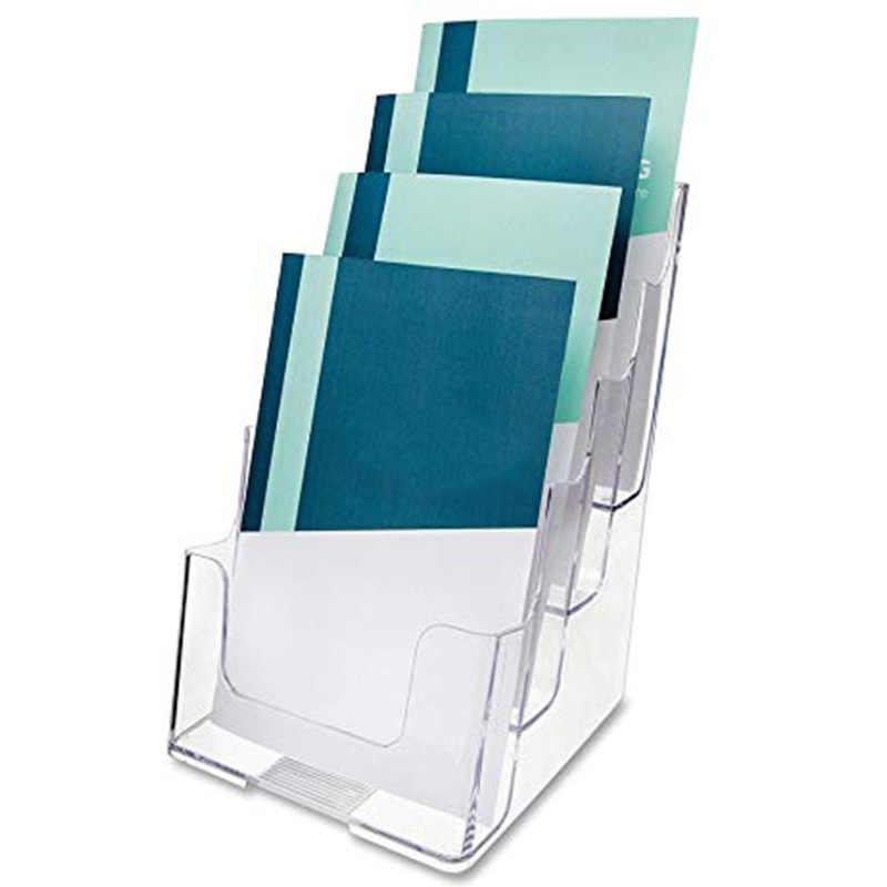 Klar 4-Tier Broschüre Halter Literatur Halter Flyer Halter Kunststoff Display Stand für 6 zoll W X 9 zoll H-Halb-Seite-Materia