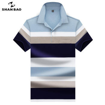 2020 summer new chest pocket designer brand clothing men's business casual striped short-sleeved polo shirt high quality 8035 striped long shirt with chest pocket