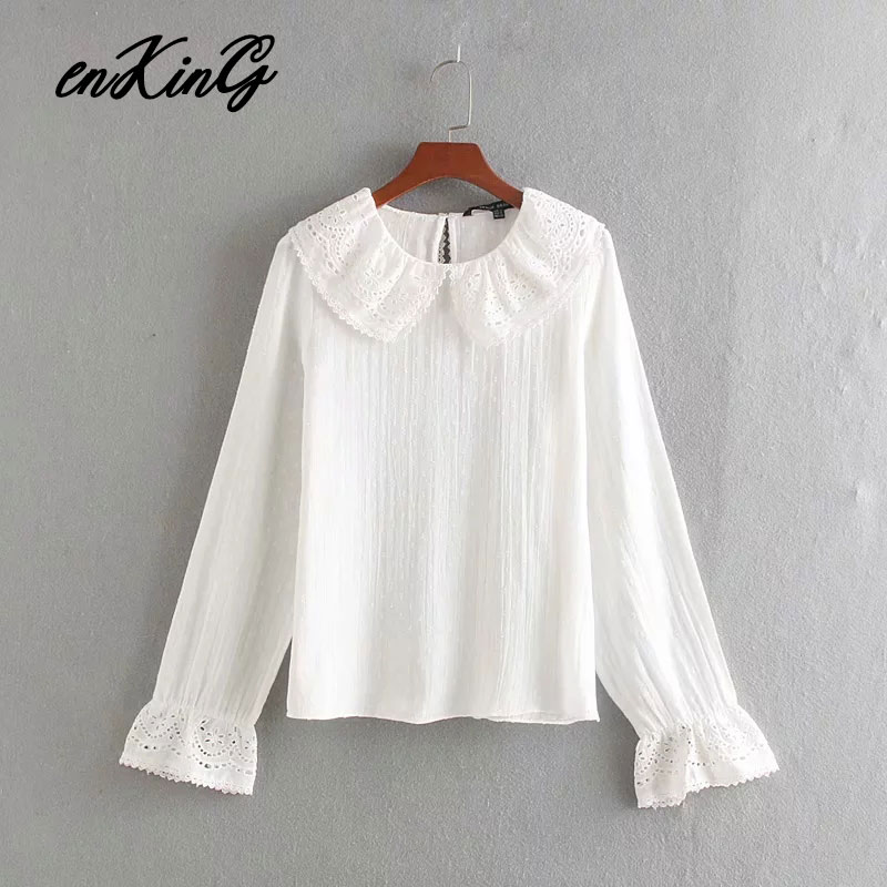 2019 autumn blouse women england style Gauze embroidery blusas mujer de moda 2019 shirt womens tops and blouses plus size