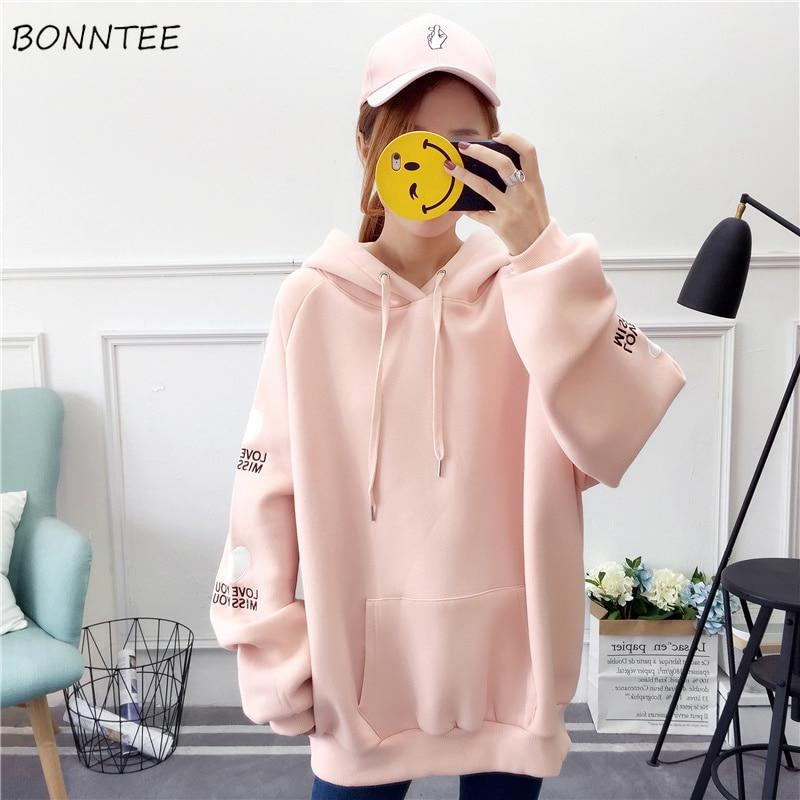 Hoodies Women 2020 Large Size School Students Thicken Loose Hooded Womens Pullover Letter Printed Korean Ladies Sweatshirts