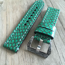 Suit For Mechanical Watch Green Boa Leather Watch Strap 20 22MM Handmade Leather Watch Strap Adapter Machinery Retro Watch Strap uyoung handmade watch strap custom fit the fat sea pa441 watch retro make old ox leather watch belt male
