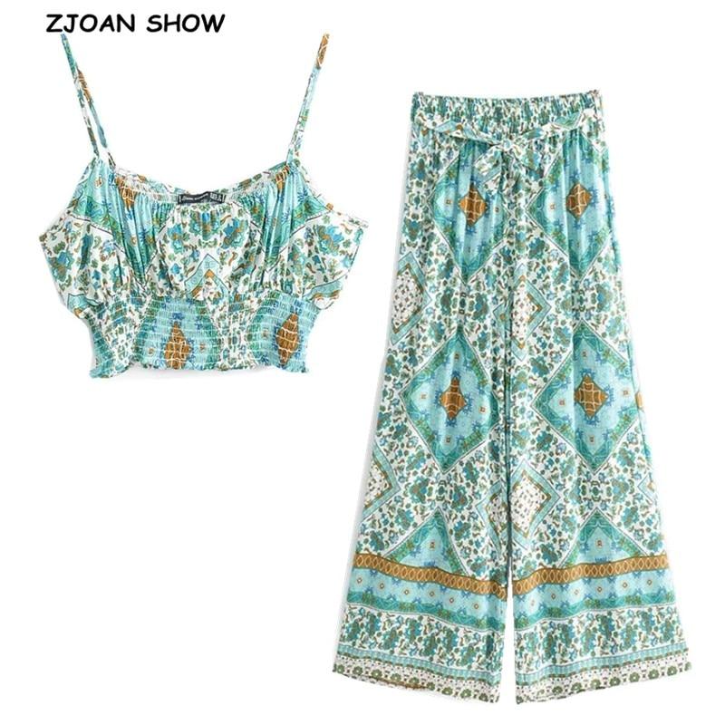 2020 Bohemian Elastic Hem Floral Print Bra Tank Top Crop Top Sexy Women Tie Bow Sashes Wide Leg Pants Ruched Camis 2 Pieces Set
