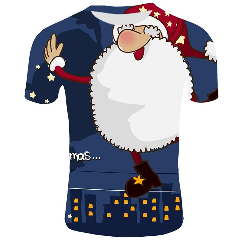 Модные футболки с рождественским узором, мужские Забавные футболки с принтом Санта-Клауса, повседневные 3d футболки, вечерние футболки со снеговиком, одежда с коротким рукавом - Цвет: T3