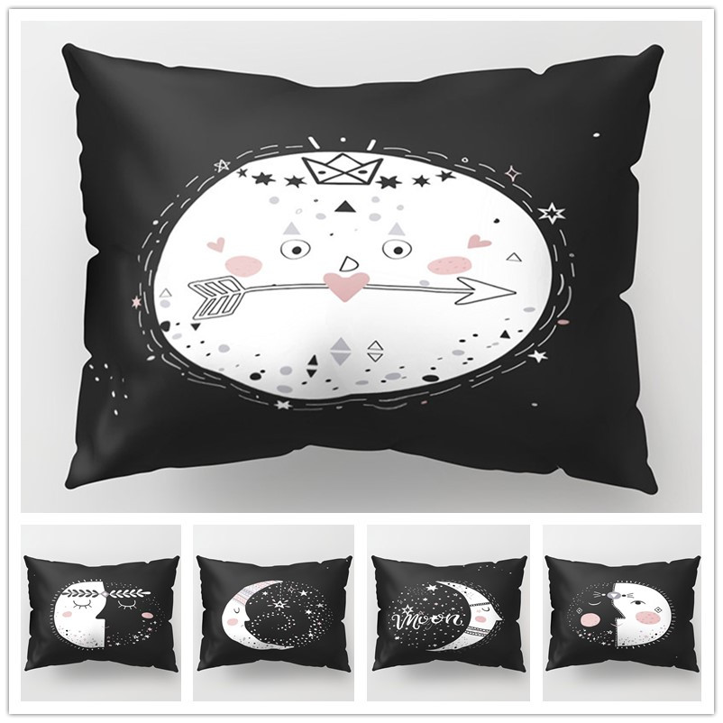 Cartoon Moon <font><b>Cushion</b></font> <font><b>Cover</b></font> <font><b>30</b></font>*<font><b>50</b></font> Black Polyester Pillowcase for Car Sofa Couch Pillows Decorative Home Bedroom Living Room Decor image