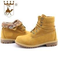 BACKCAMEL Fashion Men Women Boots Ankle Leather Winter Shoes Warm Fur Round Toe Shoes Lace Up Casual Women's Vulcanize Shoes