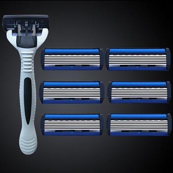 цена на 6 Layers Razor 1 Razor Holder 7 Blades Replacement Shaver Head Cassette Shaving Razor Set Face Knife For Man face shaver