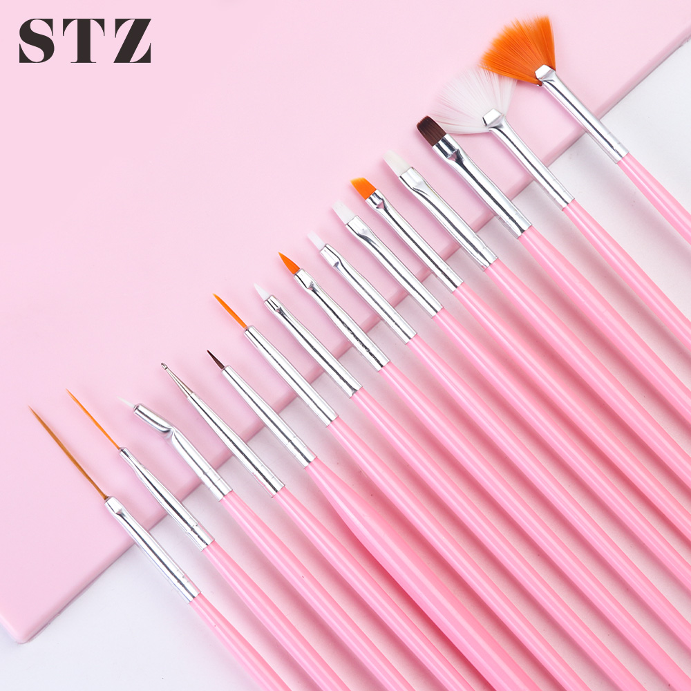 STZ 15pcs Acrylic Nail Art Brush Set Ombre Dotting Designs Manicure Brushes Liner Gel Nail Polish Painting Drawing Tools #1050