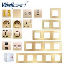 Metal Frame DIY Gold Wall Socket Free Combination Wallpad UK EU Socket USB TV DATA Audio Outlet Plug