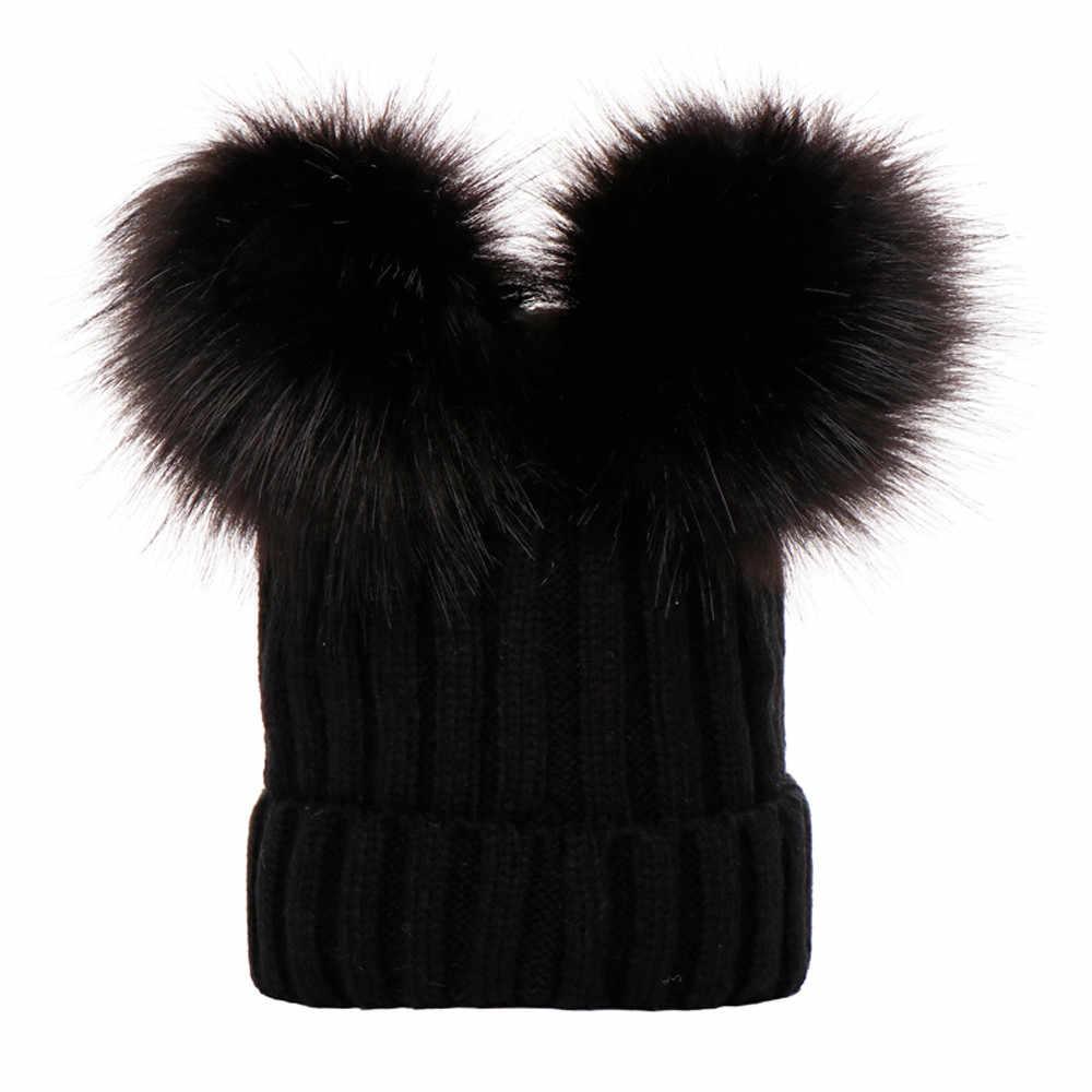 大人の冬キャップダブルぬいぐるみボールポンポン Poms 女性帽子ニットキャップ帽子 Skullies 女性ビーニー女性秋 gorro